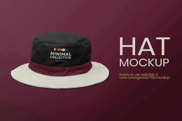 Anuncio de ropa de psd de maqueta de sombrero de cubo editable