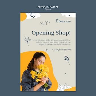 Apertura pronto plantilla de póster de tienda de flores
