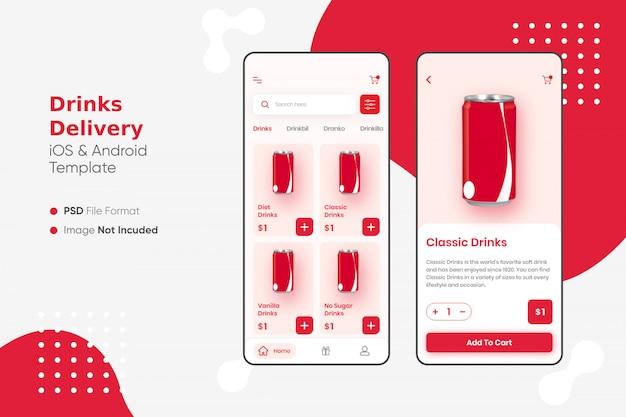 Aplicación de entrega de bebidas ui
