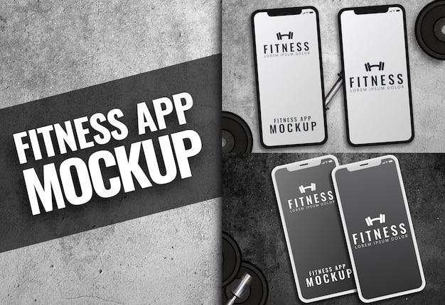 Aplicación de fitness maqueta textura oscura iphone
