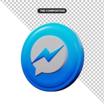 Aplicación de logotipo de renderizado 3d messenger aislado