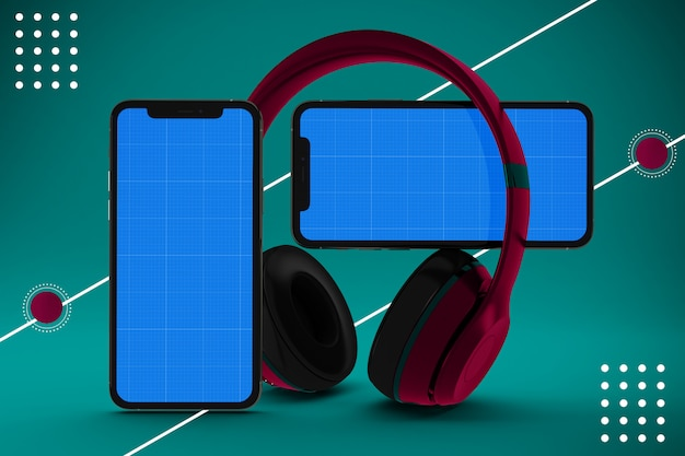 Aplicación de música para teléfonos inteligentes con auriculares, maqueta de pantalla