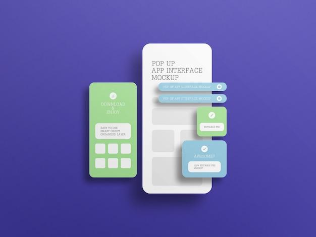 App-interface met mockup voor pop-upschermen