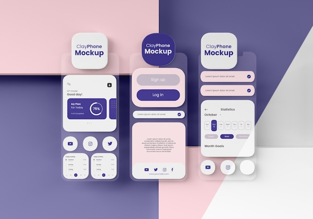 App-interface mock-up op telefoonscherm
