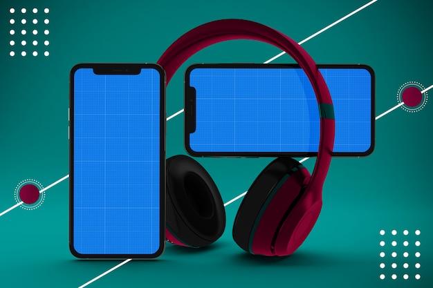 App per smartphone con cuffie, schermo mockup