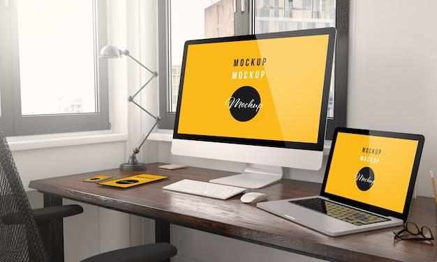 Apparaten met responsive webdesign desktop 3d-rendering
