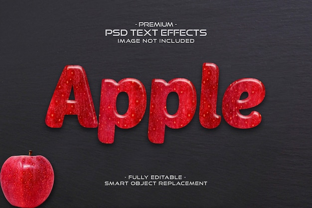 Apple bewerkbare 3d fruit tekst effect