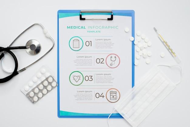Appunti vista dall'alto con disposizione di pillole
