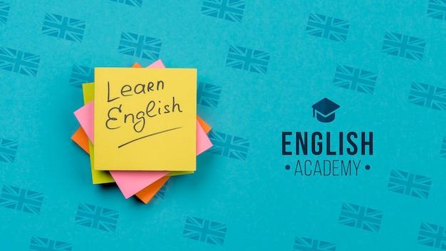 Aprende inglés maqueta de notas adhesivas