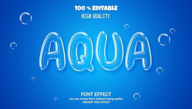 Aqua lettertype stijl effect sjabloon