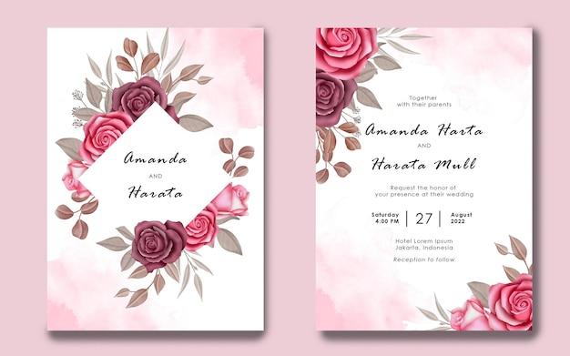 Aquarel bloemen bruiloft uitnodiging kaartsjabloon