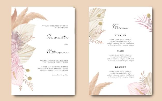 Aquarel boho huwelijksuitnodiging en menukaartsjabloon