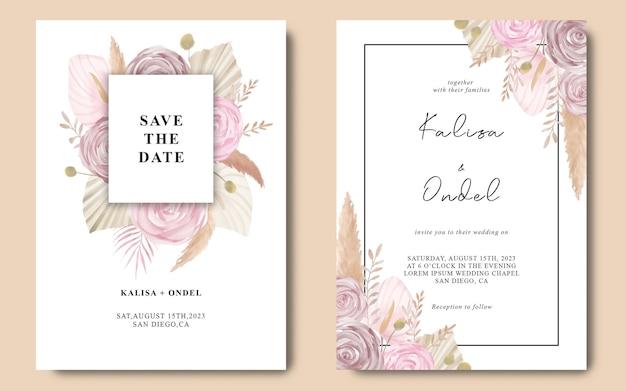 Aquarel boho huwelijksuitnodiging Premium Psd