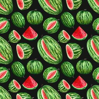 Aquarel eindeloze patroon met watermeloenen