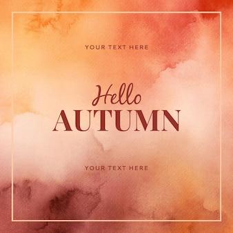 Aquarel hallo herfst achtergrondontwerp
