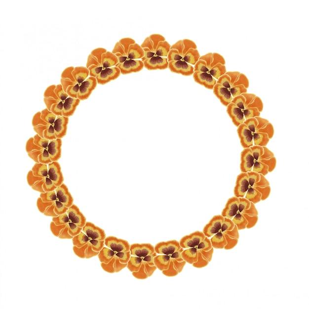 Aquarel oranje, geel en bruin viooltje krans