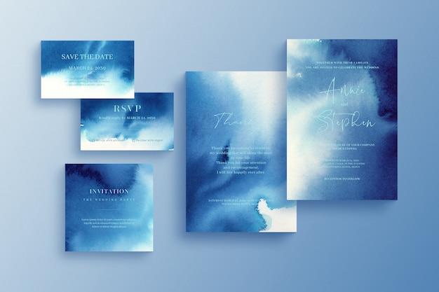 Aquarel uitnodiging sjabloon, bruiloft briefpapier set