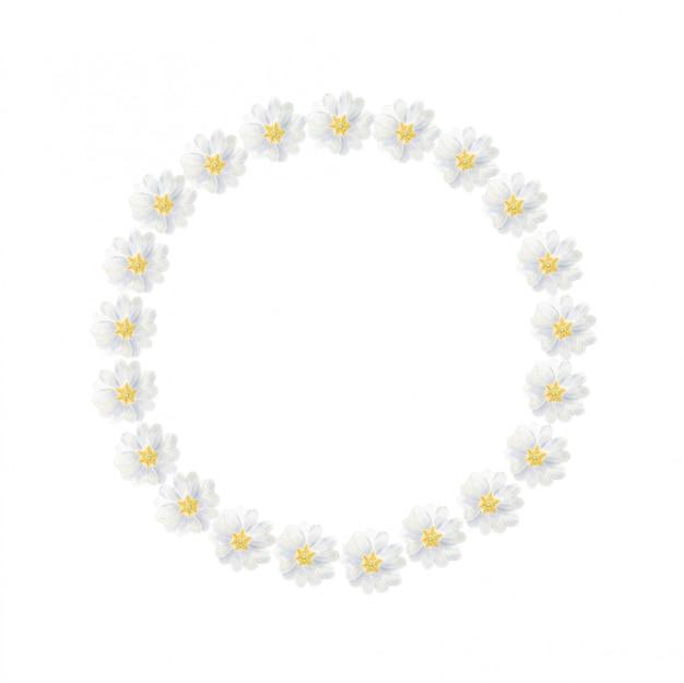 Aquarel witte primrose krans geïsoleerd