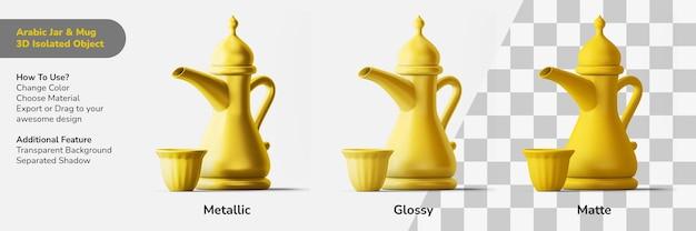 Arabische drankpot en mok 3d-ontwerpobject geïsoleerde scèneschepper