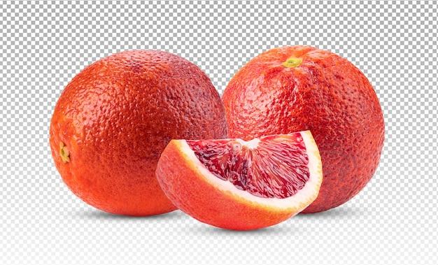 Arance rosse con una piccola fetta isolate