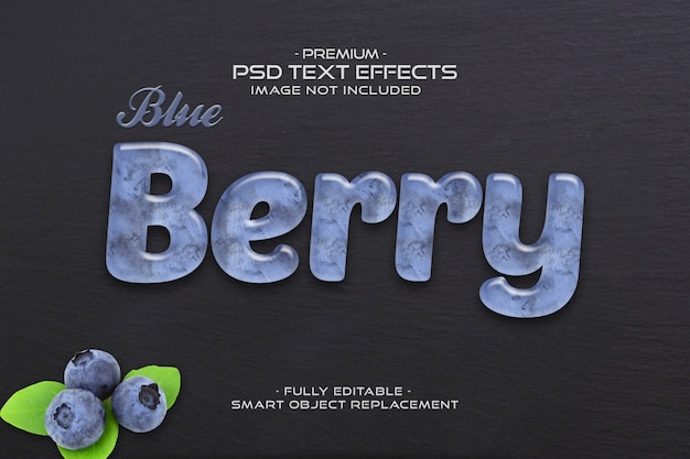 Arándano fruta dulce sabroso psd efectos de texto