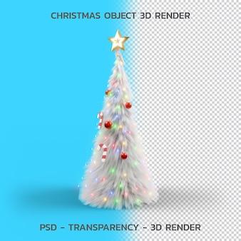 Árbol de navidad y accesorios, objeto de navidad 3d render