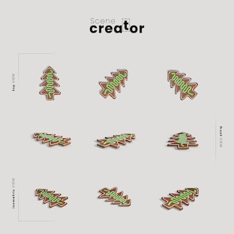 Árbol de navidad pan de jengibre variedad ángulos creador de escena navideña