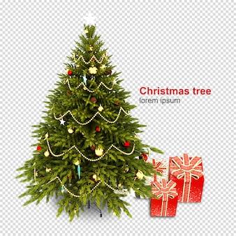 Árbol de navidad y regalos en 3d prestados