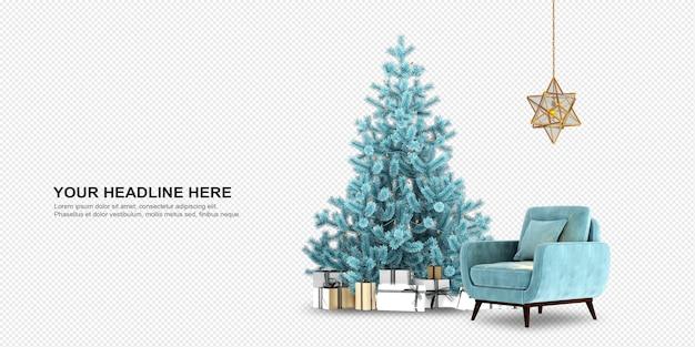 Árbol de navidad y sillón en renderizado 3d