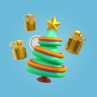 Árbol de navidad verde. representación 3d