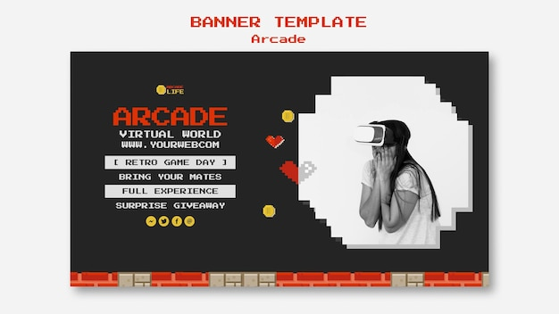 Arcade banner sjabloonontwerp