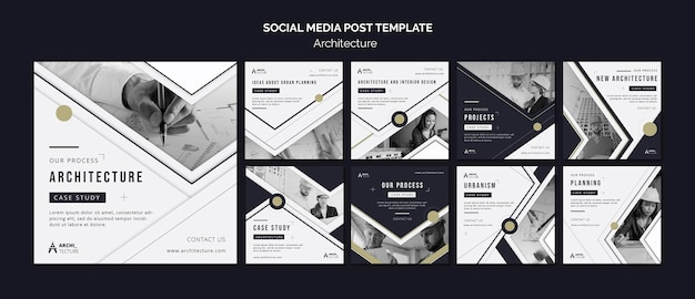 Architectuur concept sociale media post sjabloon Premium Psd