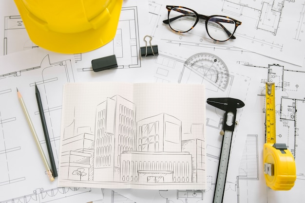 Architectuursamenstelling met papieren mockup