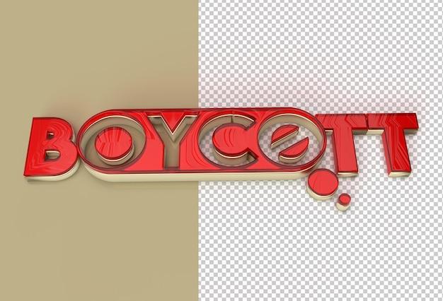 Archivo psd transparente de texto de boicot de renderizado 3d
