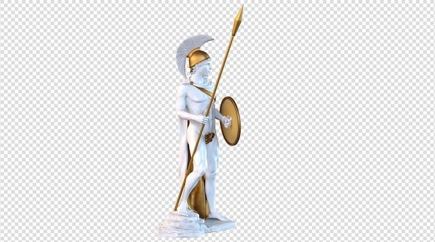 Ares god van oorlog standbeeld 3d-rendering
