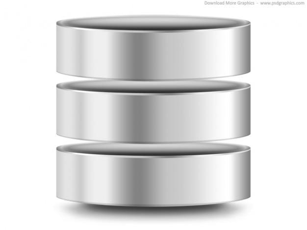 Argento computer del database icona (psd)