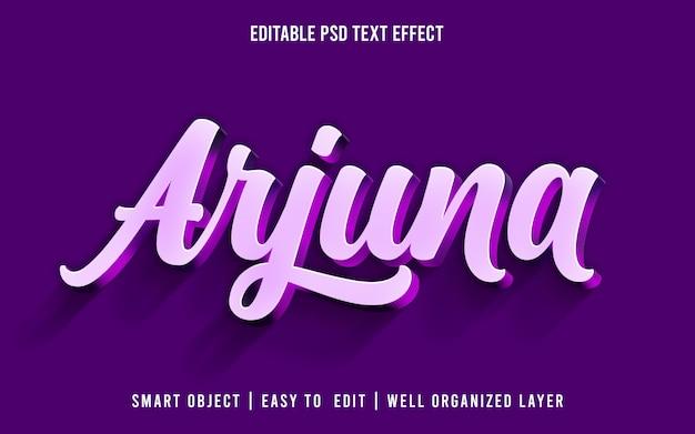 Arjuna, estilo de efecto de texto editable psd