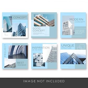 Arquitectura de publicaciones en redes sociales con plantilla de colección de color azul