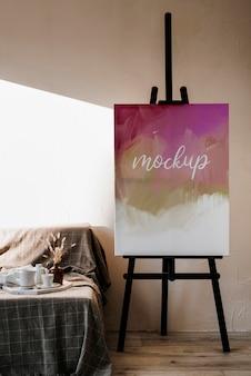 Arrangement met mock-up canvas binnenshuis