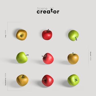 Arreglo de acción de gracias con manzanas coloridas