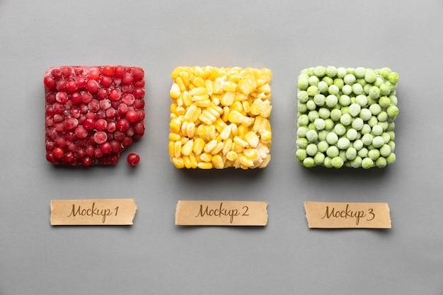 Arreglo de alimentos congelados con etiquetas de maqueta