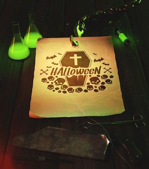 Arreglo de alto ángulo con papel viejo de halloween