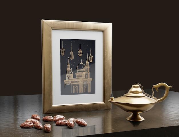 Arreglo de año nuevo árabe con fondo oscuro