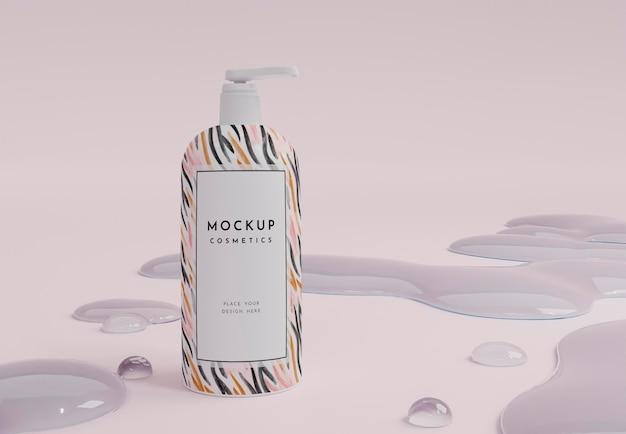 Arreglo cosmético de botella y burbujas