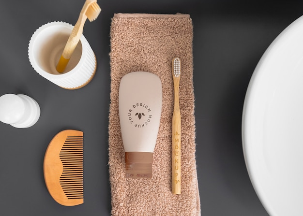 Arreglo de cosméticos ecológicos en plano