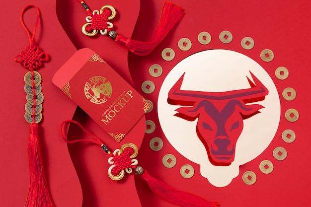 Arreglo de elementos de maqueta de año nuevo chino
