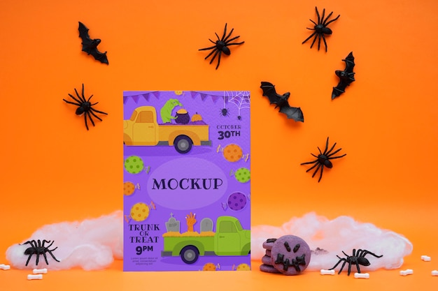 Arreglo de halloween con tarjeta de maqueta