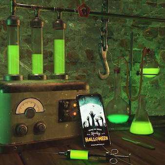 Arreglo de halloween con teléfono inteligente y gancho viejo