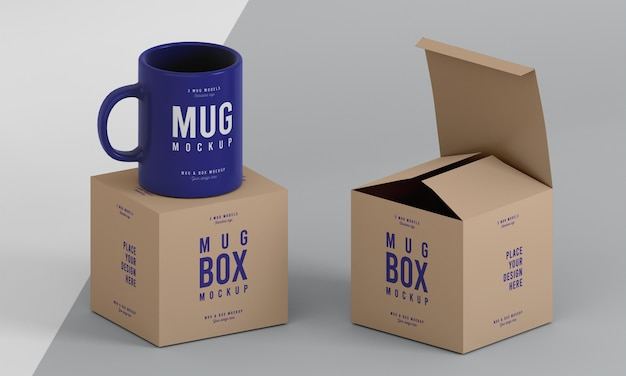 Arreglo de maqueta de caja de taza PSD gratuito