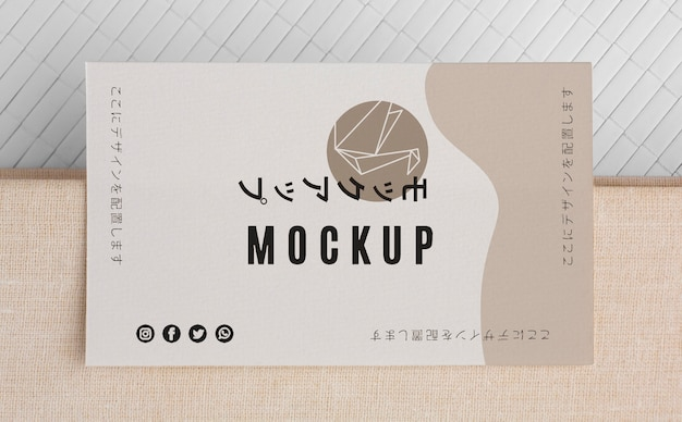 Arreglo de maqueta de tarjeta de visita de vista superior